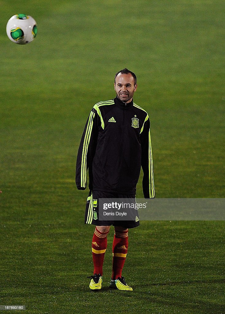 Andres Iniesta of Spain takes part in a training session ahead of their international friendly against Equatorial Guinea on November 13, 2013 in Las Rozas, Spain.