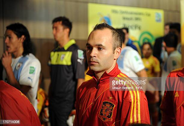 Andres Iniesta of Spain waits to walk out onto the pitch prior to the FIFA Confederations Cup Brazil 2013 Group B match between Spain and Uruguay at...