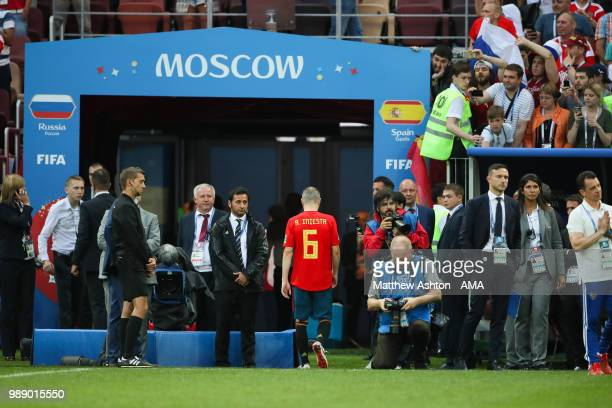 Andres Iniesta of Spain walks off after his team were eliminated during a penalty shootout during the 2018 FIFA World Cup Russia Round of 16 match...