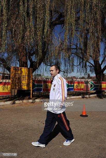 Andres Iniesta of Spain walks on his way to a press conference on June 23, 2010 in Potchefstroom, South Africa.