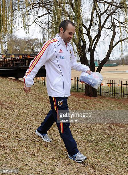 Andres Iniesta of Spain walks the hotel premises, ahead of their World Cup 2010 Semi-Final match against Germany, on July 5, 2010 in Potchefstroom,...