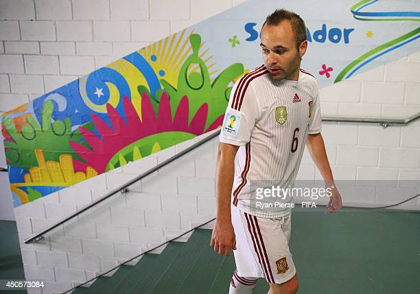 Andres Iniesta of Spain walks to the dressing room after the 2014 FIFA World Cup Brazil Group B match between Spain and Netherlands at Arena Fonte...