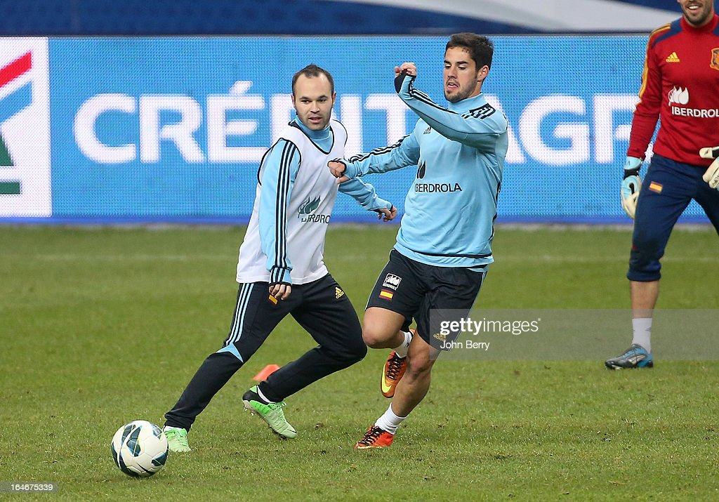 Andres Iniesta of Spain warms up during the practice session the day before the FIFA World Cup 2014 qualifier between France and Spain at the Stade de France on March 25, 2013 in Saint-Denis near Paris, France.