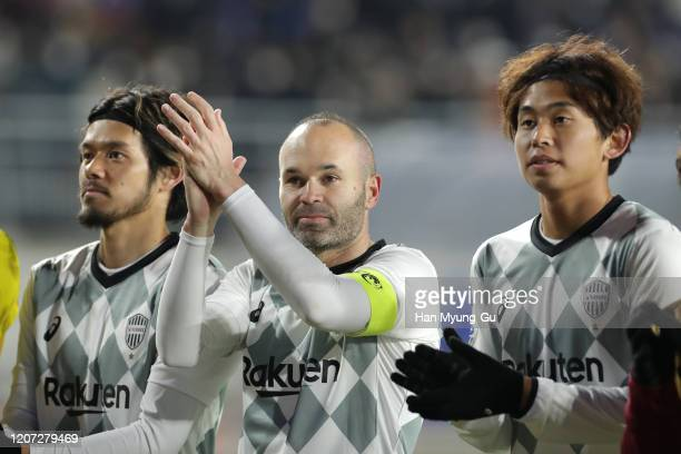 Andres Iniesta of Vissel Kobe celebrates the AFC Champions League Group G match between Suwon Samsung Bluewings and Vissel Kobe at the Suwon World...
