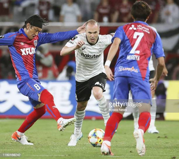 Andres Iniesta of Vissel Kobe dribbles during the first half of a J-League football match against FC Tokyo on June 15 at Ajinomoto Stadium in Tokyo....