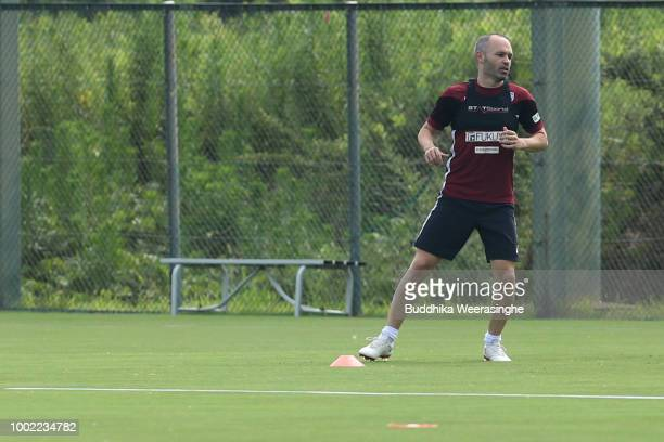 Andres Iniesta of Vissel Kobe speaks to media after his first training session on July 20 2018 in Kobe Hyogo Japan