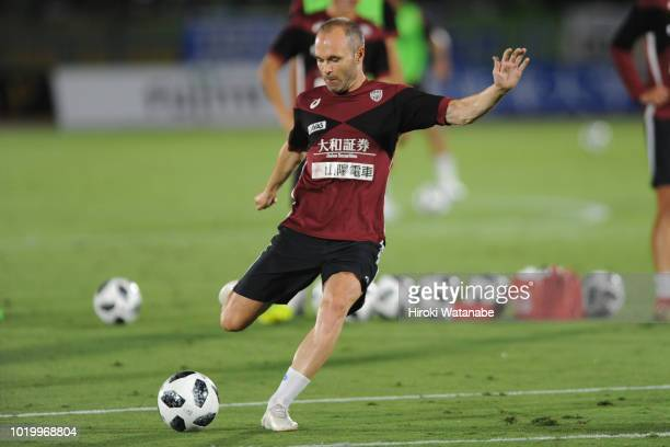 Andres Iniesta of Vissel Kobe in action prior to the JLeague J1 match between Shonan Bellmare and Vissel Kobe at Shonan BMW Stadium Hiratsuka on...