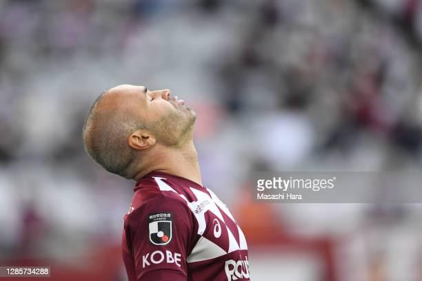 Andres Iniesta of Vissel Kobe reacts during the J.League Meiji Yasuda J1 match between Vissel Kobe and Shonen Bellmare at Noevir Stadium Kobe on...