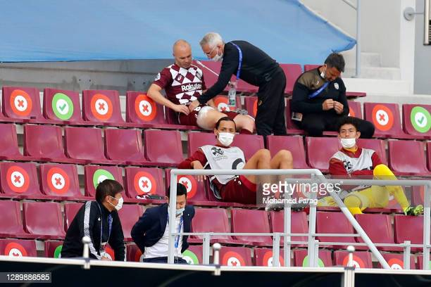 Andres Iniesta of Vissel Kobe reacts to an injury during the AFC Champions League Round of 16 match between Vissel Kobe and Shanghai SIPG at the...