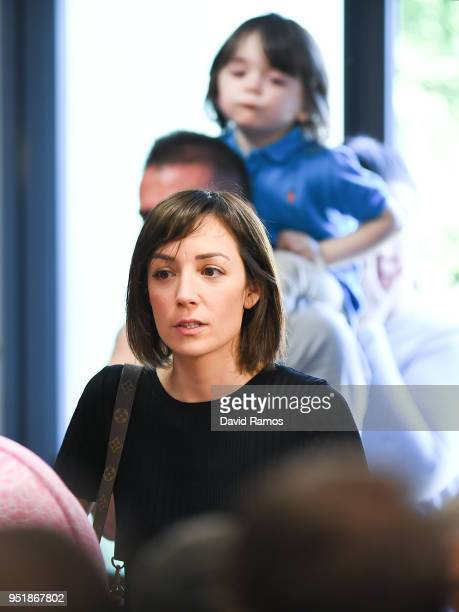 Andres Iniesta's wife Anna Ortiz arrives for a press conference of Andres Iniesta of FC Barcelona at the Ciutat Deportiva Joan Gamper on April 27...
