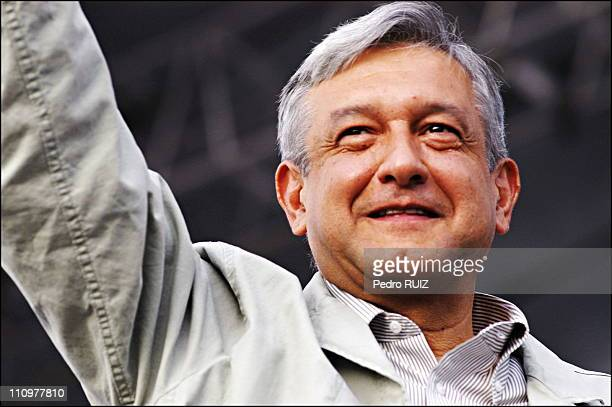 Andres Manuel Lopez Obrador attends a rally in Mexico City's Zocalo plaza in Mexico on September 14th 2006