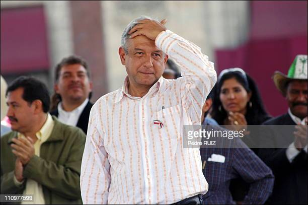 Andres Manuel Lopez Obrador attends rally on 48th day of pacific civil resistance in Mexico on September 15th 2006 after he narrowly lost the...