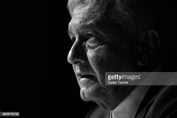 Andres Manuel Lopez Obrador elect President of Mexico speaks during a press conference at Salon D'Luz on July 5 2018 in Mexico City Mexico