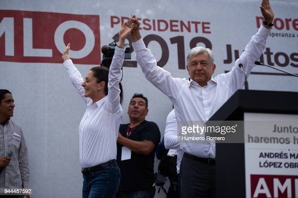 Andres Manuel Lopez Obrador front runner for the Mexican presidential election greets the audience with Claudia Sheinbaum city mayor candidate during...