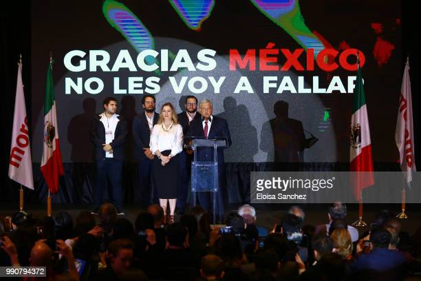 Andres Manuel Lopez Obrador gives a speech for his virtual victory for the presidency of Mexico at his party media centre as part of the Mexico 2018...