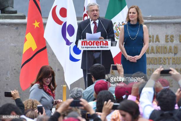 Andres Manuel Lopez Obrador is seen during a meeting with his followers at outside of the National Electoral Institute on March 16 2018 in Mexico...