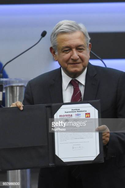 Andres Manuel Lopez Obrador is seen during his registered as candidate for Mexico president at the National Electoral Institute on March 16 2018 in...