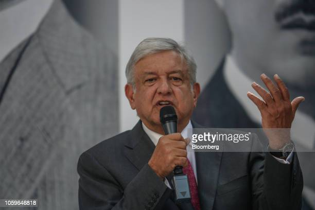 Andres Manuel Lopez Obrador Mexico's presidentelect speaks during a press conference in Mexico City Mexico on Friday Nov 9 2018 Mexico's incoming...