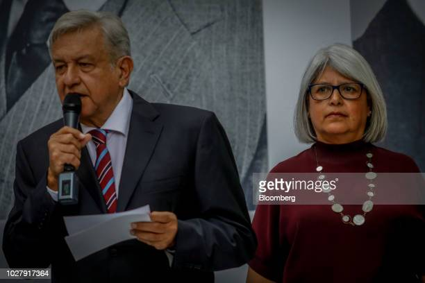 Andres Manuel Lopez Obrador, Mexico's president-elect, speaks while Graciela Marquez, Mexico's incoming economy minister, right, listens during a...