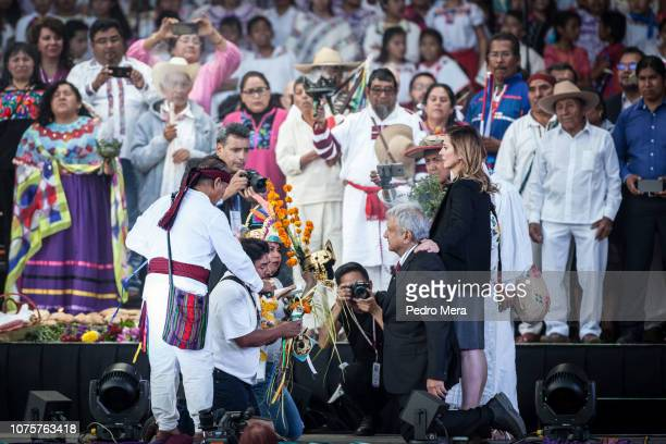 Andres Manuel Lopez Obrador Predisident of Mexico takes part in an indigenous ceremony during the events of the Presidential Investiture as part of...