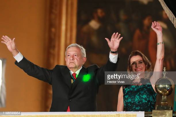 Andres Manuel Lopez Obrador president of Mexico and his wife Beatriz Gutierrez Muller are pointed with a laser during the celebrations of Mexico's...