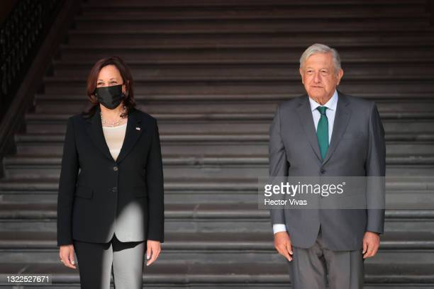 Andres Manuel Lopez Obrador President of Mexico and Kamala Harris Vice President of the US pose after the signing of a memorandum of understanding...