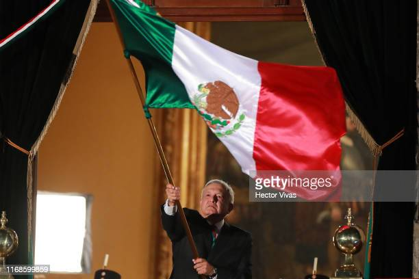 Andres Manuel Lopez Obrador president of Mexico during the celebrations of Mexico's Independence Day at Zocalo on September 15 2019 in Mexico City...
