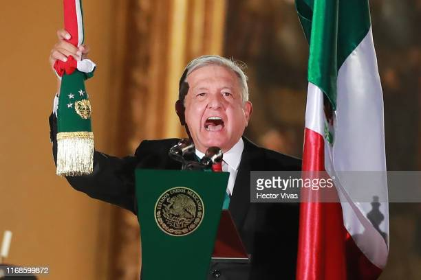 Andres Manuel Lopez Obrador, president of Mexico during the celebrations of Mexico's Independence Day at Zocalo on September 15, 2019 in Mexico City,...