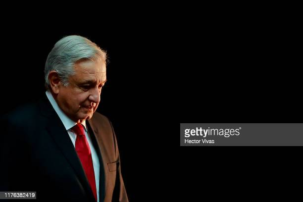 Andres Manuel Lopez Obrador, President of Mexico gestures during a state visit to Mexico at Palacio Nacional on October 17, 2019 in Mexico City,...