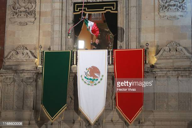Andres Manuel Lopez Obrador president of Mexico gestures during the celebrations of Mexico's Independence Day at Zocalo on September 15 2019 in...