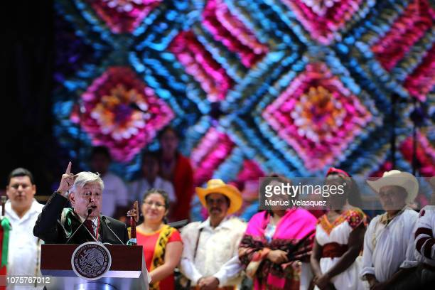 Andres Manuel Lopez Obrador President of Mexico gives a speech during the events of the Presidential Investiture as part of the 65th Mexico...