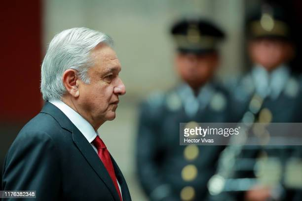 Andres Manuel Lopez Obrador, President of Mexico looks on during a state visit to Mexico at Palacio Nacional on October 17, 2019 in Mexico City,...