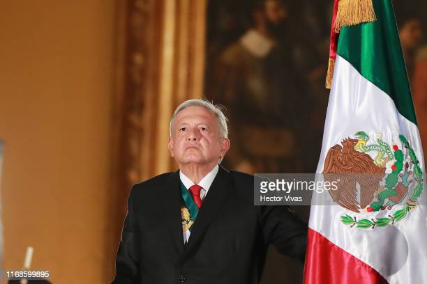Andres Manuel Lopez Obrador president of Mexico looks on during the celebrations of Mexico's Independence Day at Zocalo on September 15 2019 in...