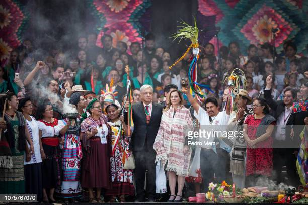 Andres Manuel Lopez Obrador President of Mexico poses with his wife Beatriz Gutierrez during the events of the Presidential Investiture as part of...