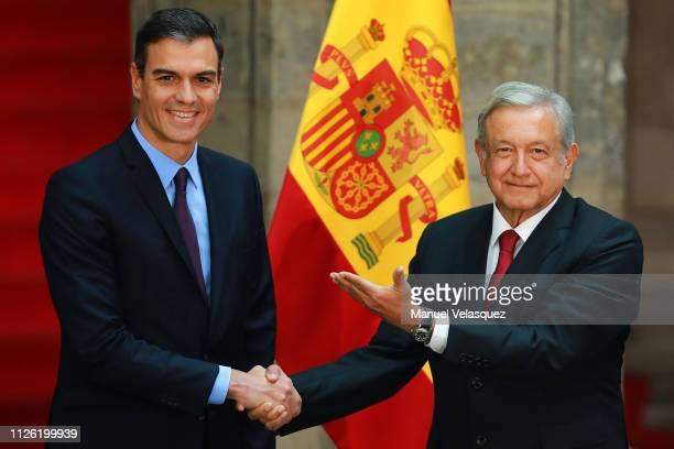Andres Manuel Lopez Obrador President of Mexico receives Pedro Sánchez President of Spain during an Official visit of Pedro Sánchez PérezCastejón...