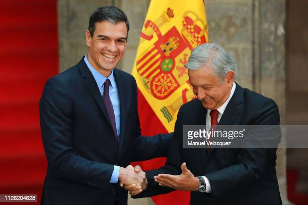 Andres Manuel Lopez Obrador President of Mexico shakes hands with Pedro Sánchez President of Spain during an Official visit of Pedro Sánchez...