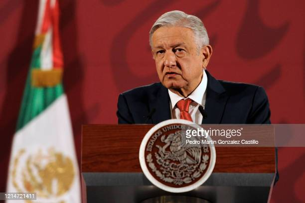 """Andres Manuel Lopez Obrador President of Mexico, speaks during his daily informative session presenting """"The Program Support for Food Sovereignty"""" at..."""