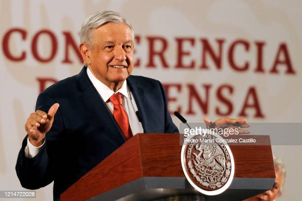 Andres Manuel Lopez Obrador President of Mexico speaks during his daily informative session presenting The Program Support for Food Sovereignty at...