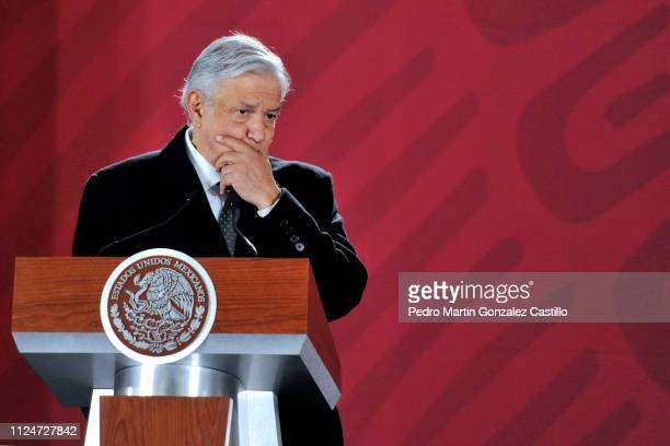 Andres Manuel Lopez Obrador President of Mexico speaks during the morning conference regarding the regulation of gas prices at Palacio Nacional on...