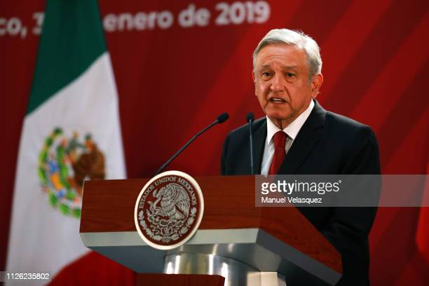 Andres Manuel Lopez Obrador President of Mexico speaks during the joint press conference during an Official visit of Pedro Sánchez PérezCastejón...