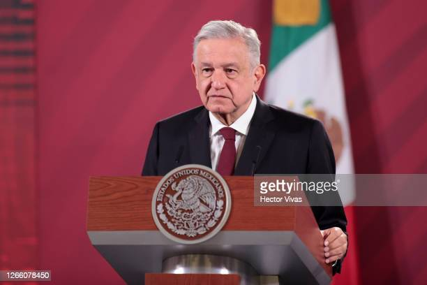 Andres Manuel Lopez Obrador, president of Mexico speaks during the announcement that Mexico and Argentina will produce the Oxford Coronavirus Vaccine...