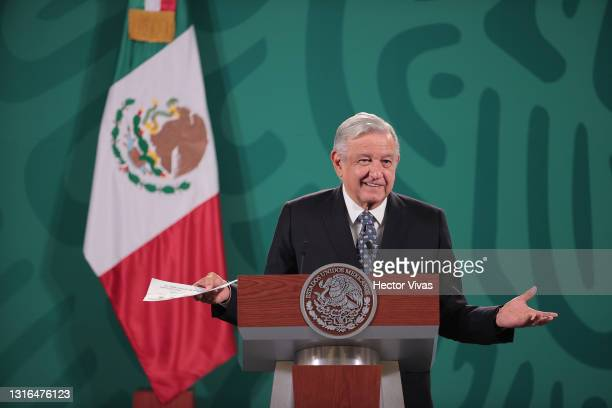 Andres Manuel Lopez Obrador President of Mexico speaks during the daily briefing at Palacio Nacional on May 05, 2021 in Mexico City, Mexico.