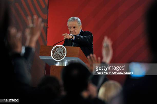 Andres Manuel Lopez Obrador President of Mexico speaks over the crisis in Venezuela during the morning press conference at National Palace on January...