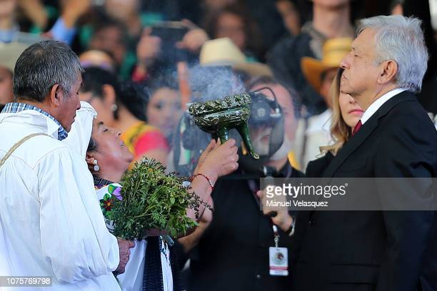 Andres Manuel Lopez Obrador President of Mexico takes part in an indigenous ceremony during the events of the Presidential Investiture as part of the...