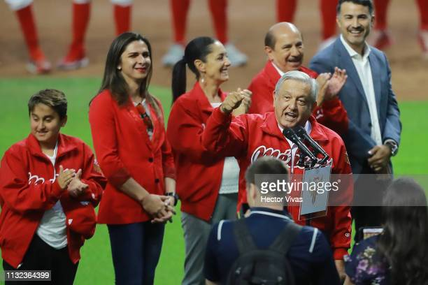 Andres Manuel Lopez Obrador President of Mexico talkgives a speech prior a friendly game between San Diego Padres and Diablos Rojos at Alfredo Harp...