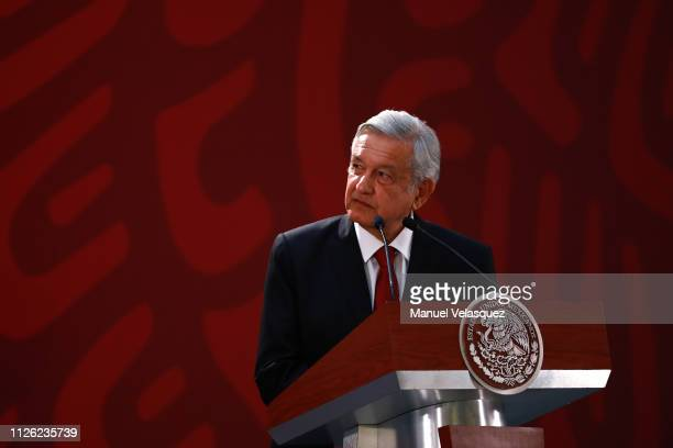 Andres Manuel Lopez Obrador President of Mexico talks during the joint press conference during an Official visit of Pedro Sánchez PérezCastejón...