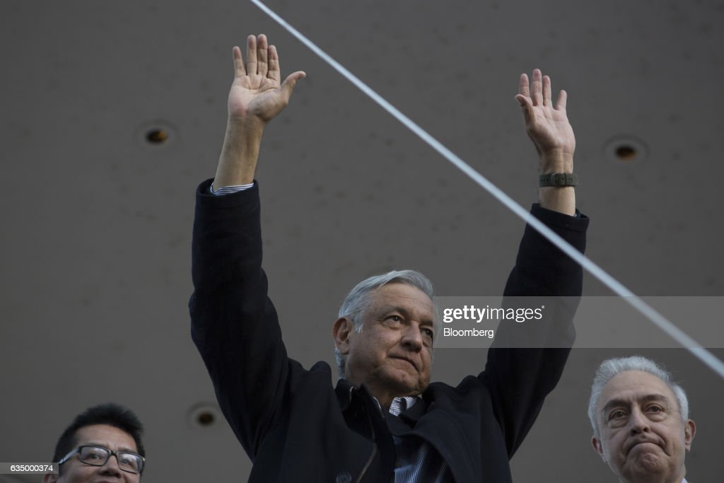 Andres Manuel Lopez Obrador Heads State-Side As The Twice-beaten Populist Leads Mexico's 2018 Voting Race : News Photo