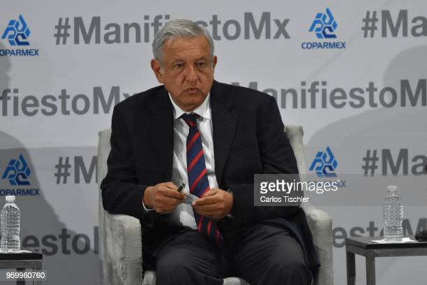 Andres Manuel Lopez Obrador presidential candidate for National Regeneration Movement Party / 'Juntos Haremos Historia' gestures during a conference...