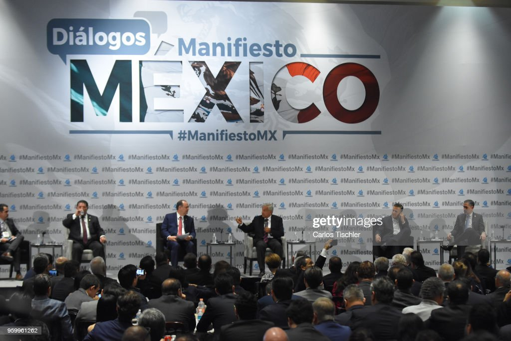 Andres Manuel Lopez Obrador (C) presidential candidate for National Regeneration Movement Party (MORENA) / 'Juntos Haremos Historia' speaks during a conference as part of the 'Dialogues: Mexico Manifesto' Event at Hilton Hotel on May 17, 2018 in Mexico City, Mexico.