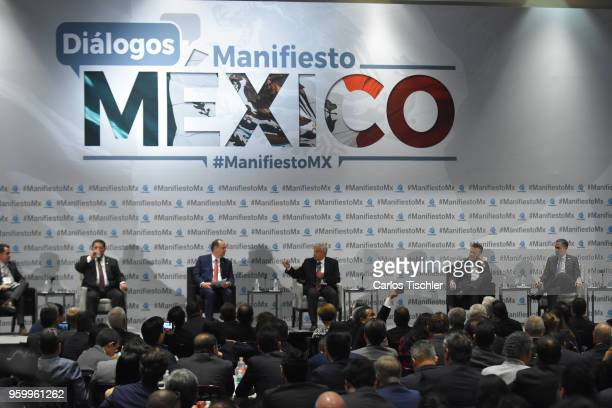 Andres Manuel Lopez Obrador presidential candidate for National Regeneration Movement Party / 'Juntos Haremos Historia' speaks during a conference as...